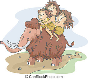 Caveman Family Ride - Illustration of a Caveman Family...
