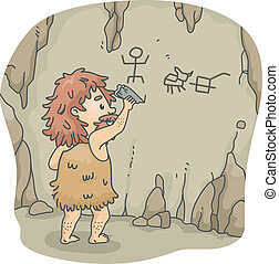 Caveman Art - Illustration of a Caveman Etching Figures on...
