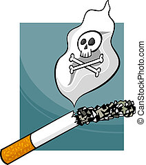 smoking harms cartoon illustration - Cartoon Concept...
