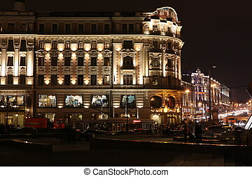 MOSCOW OCT 5: Night View of Hotel National and Tverskaya...