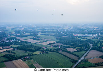 Hot air balloons over Muenster at the Montgolfiade 2013
