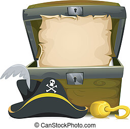 Pirate Treasure Chest - Illustration of an Open Treasure...
