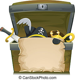 Pirate Treasure Hat - Illustration of Treasure Chest with an...