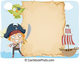 Pirate Paper Background - Illustration of a Pirate Standing...