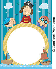Pirate Frame - Frame Illustration of Pirates Holding a...