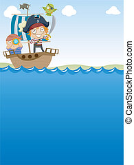 Pirates Sailing - Background Illustration of Pirates Happily...