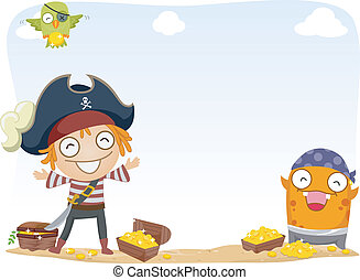 Pirate Treasure Background - Background Illustration of...