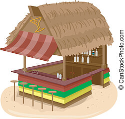 Beach Hut Bar - Illustration of a Beach Hut Bar Serving...