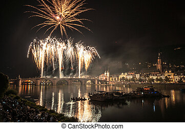 Heidelberg Castle Illumination - fireworks at the event...