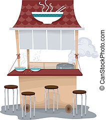 Ramen Food Cart - Illustration of a Food Cart Selling Ramen