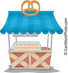 Pretzel Food Cart - Illustration of a Food Cart Selling...