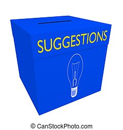 Suggestions box - Blue box with opening for sheets/cards