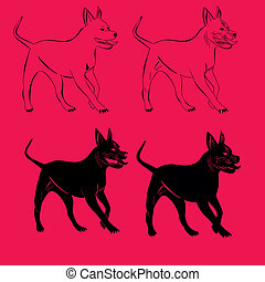 pit bull bodyguard dog vector art