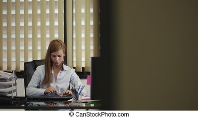 portrait of business woman working - portrait of mid adult...