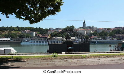 Belgrade, view from river, church, Buddha