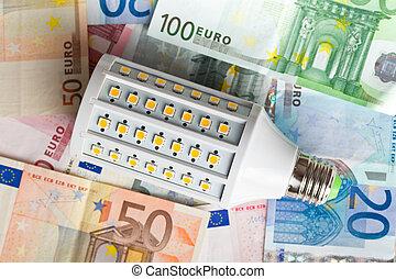 LED lightbulb with euro money