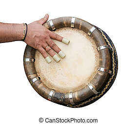 hand hitting Indian drum - One hand playing Indian drum...