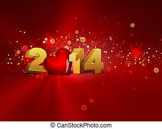 2014 year - 2014 with red heart - greeting card