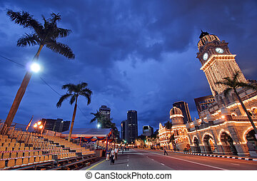 Kuala lumpur courthouse at dusk - very wide angle picture of...