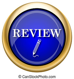 Review icon - Shiny glossy icon with white design on blue...