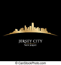 Jersey city New Jersey skyline silhouette black background -...