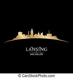 Lansing Michigan city silhouette black background - Lansing...