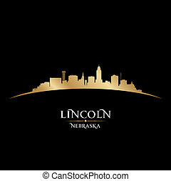 Lincoln Nebraska city silhouette black background - Lincoln...