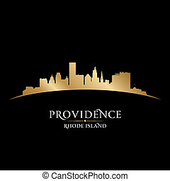 Providence Rhode Island city silhouette black background -...