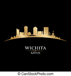 Wichita Kansas city silhouette black background - Wichita...