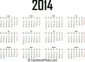 2014 calendar template - week starts monday