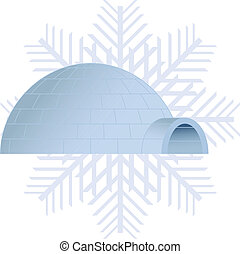Igloo - Vector illustration of a igloo and a snowflake on...