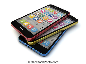 colorfull smartphones - render of three colorfull...