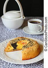 poppy seed quark cake -  homemade poppy seed quark cake