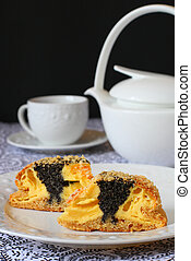 poppy seed quark cake - Two pieces of homemade poppy seed...