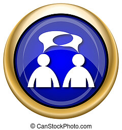 Comments icon - men with bubbles - Shiny glossy icon with...