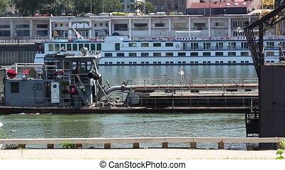 Cargo ship - Belgrade, river, cargo ship