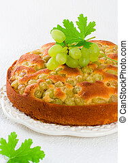 homemade grapes cake - homemade biscuit cake with green...