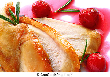 Turkey breast with cranberry sauce - Sliced turkey breast...