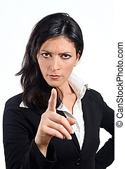 zangado, negócio, mulher