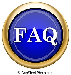 FAQ icon - Shiny glossy icon with white design on blue and...
