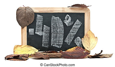 autumn discount Forty percent written on blackboard