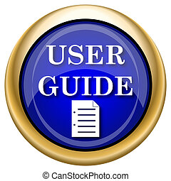 User guide icon - Shiny glossy icon with white design on...