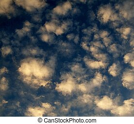 Stratocumulus cloud background 1 - deep blue background with...