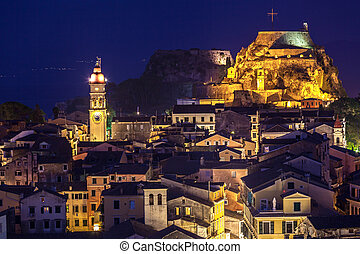 Panoramic view of the citylights of Corfu Town at night....