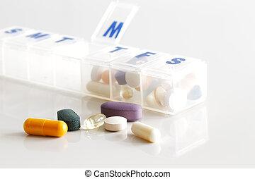 Un, semanalmente, contenedor, tabletas