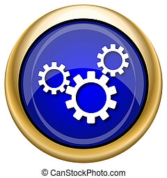 Settings icon - Shiny glossy icon with white design on blue...