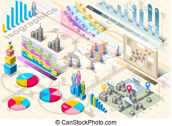 Isometric Infographic Set Elements - Detailed illustration...