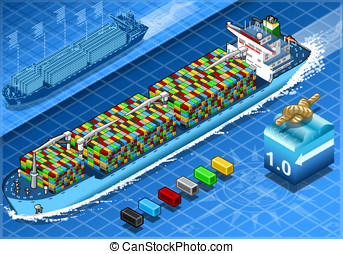 Isometric Cargo Ship with Containers in Navigation in Front...