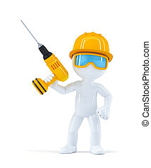 Builder with drill. Isolated on white background