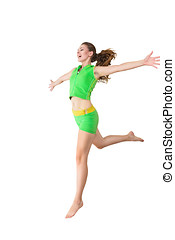 Happy jumping young woman full length studio photo isolated...
